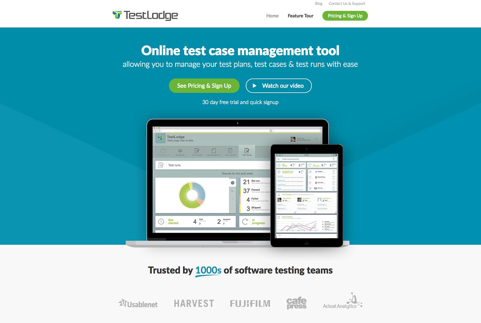 A taste of Testlodge's data dashboard