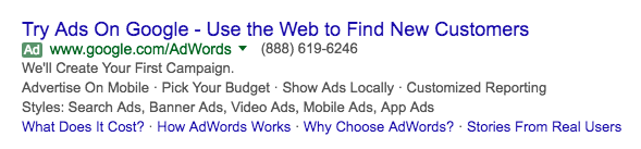 Here's an example of an ad with several.