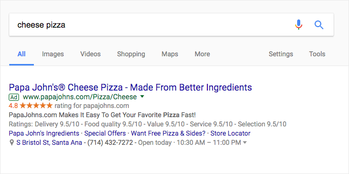 """In the Google search above, """"cheese pizza"""" may be dynamically inserted when someone searches """"cheese pizza""""."""