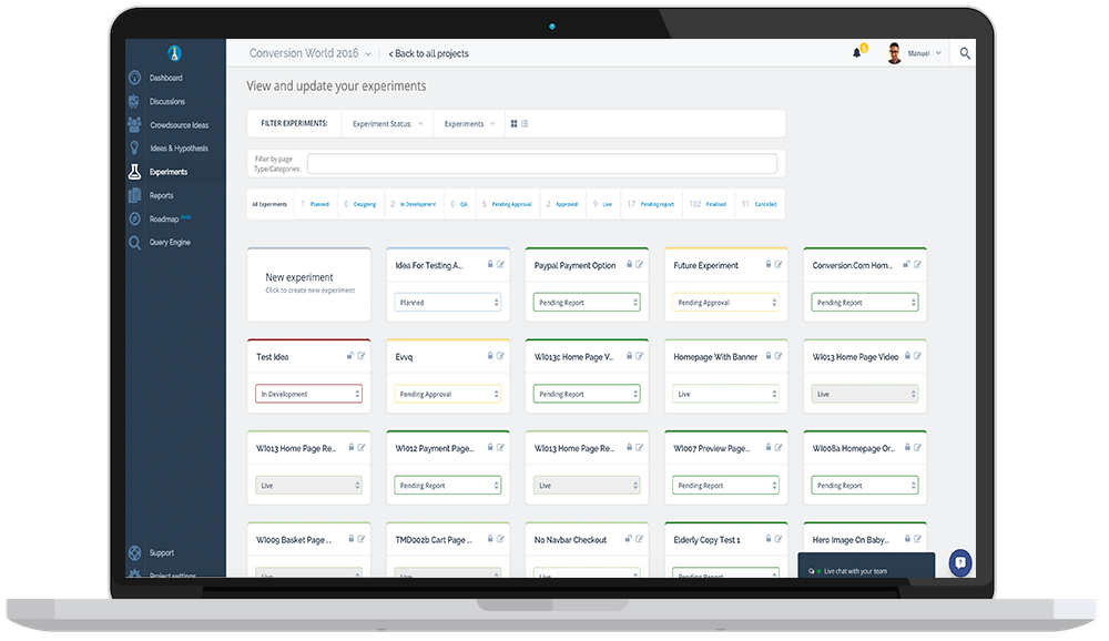 Dashboard of experiments