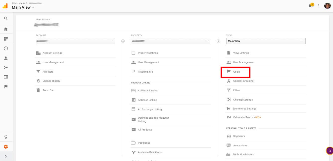 Find the Goals section of the main Admin panel.