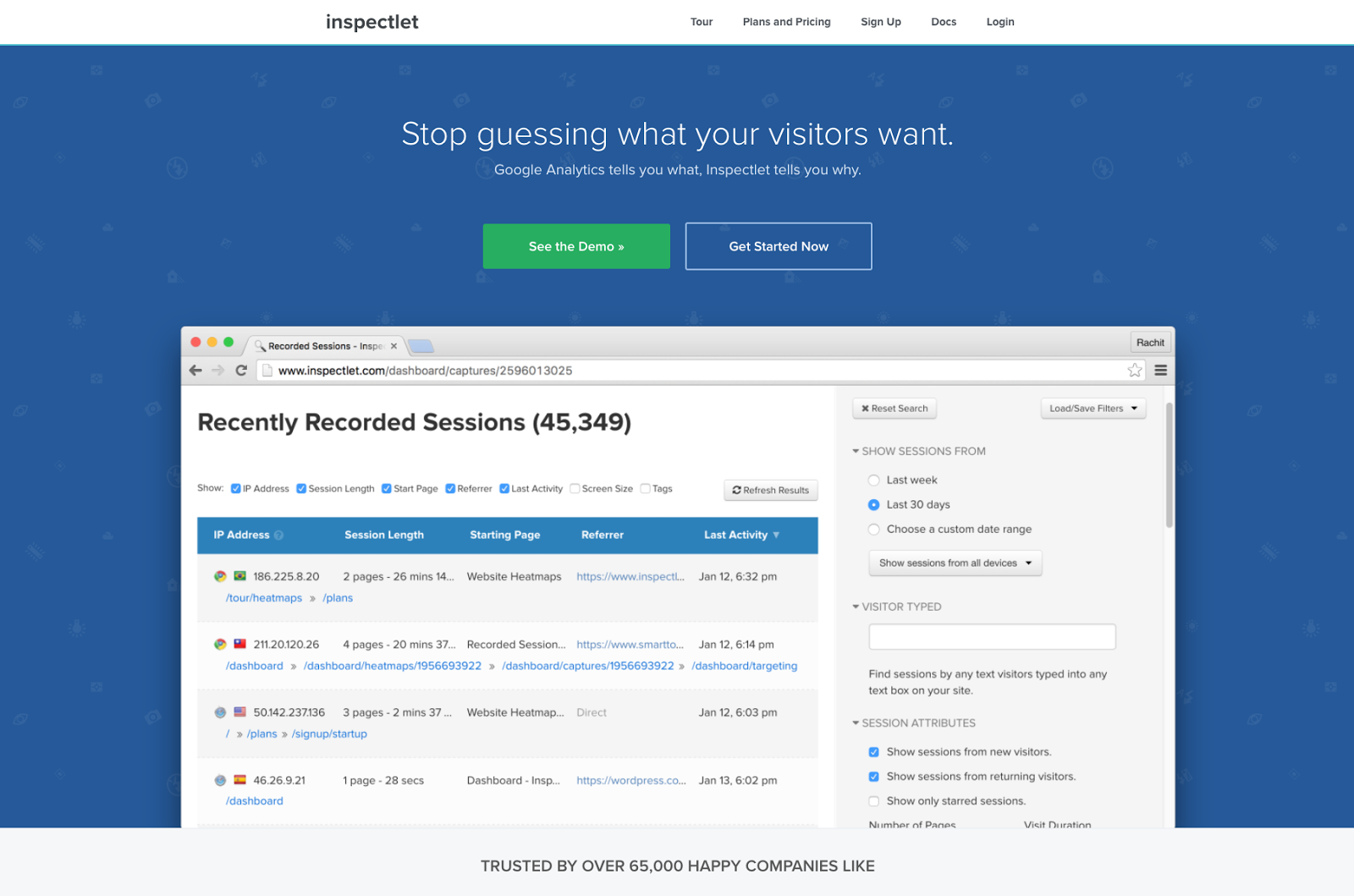 Inspectlet homepage