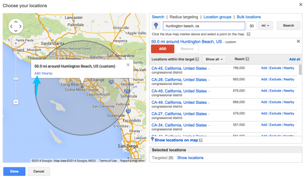 """If you use radius targeting, hit """"Add"""" on the map to include."""