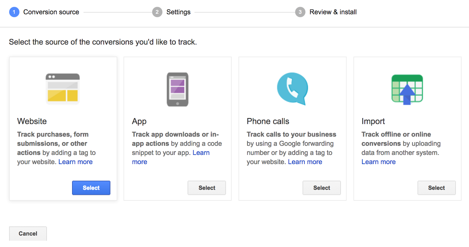 If you want to track app actions or phone calls, you can select the other options.