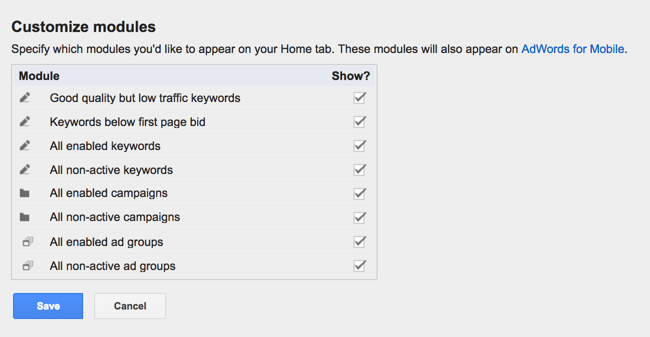 Or create your own modules via filters.
