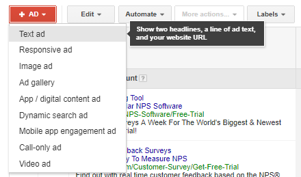 """Choose """"Text ad"""" from the options in the dropdown."""