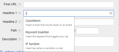 """Choose """"Keyword insertion"""" from the options in the dropdown."""