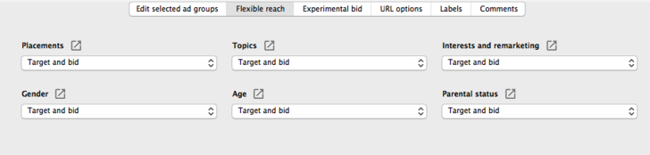 Flexible reach within AdWords Editor will show all targeting layers defaulted to this.