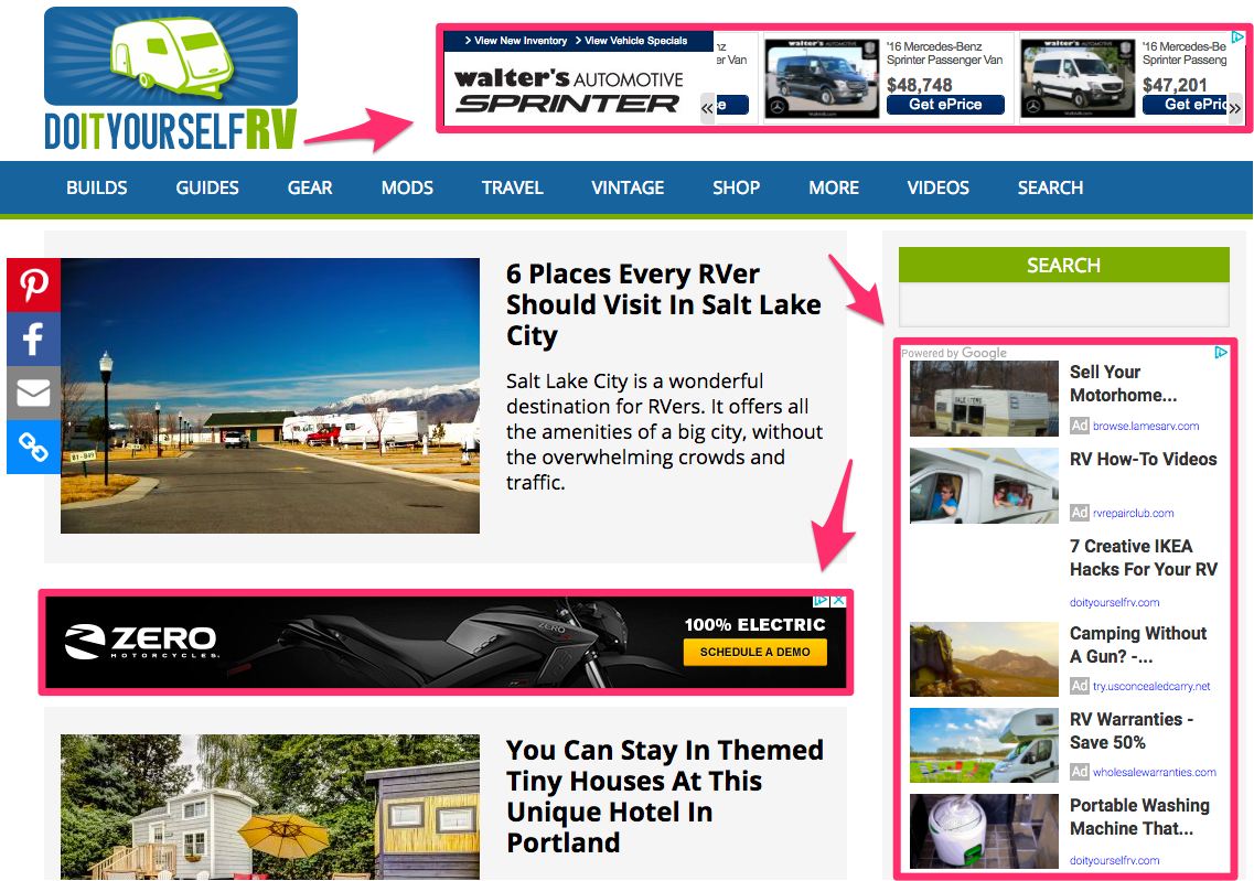Examples of display ad placement.