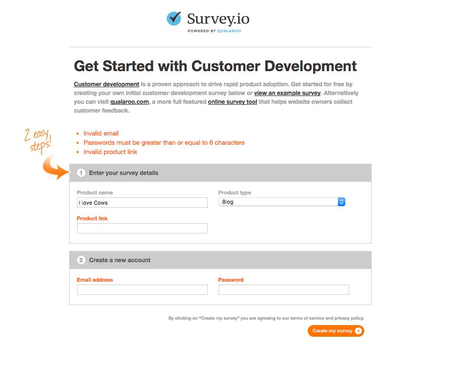 Survey.io interface