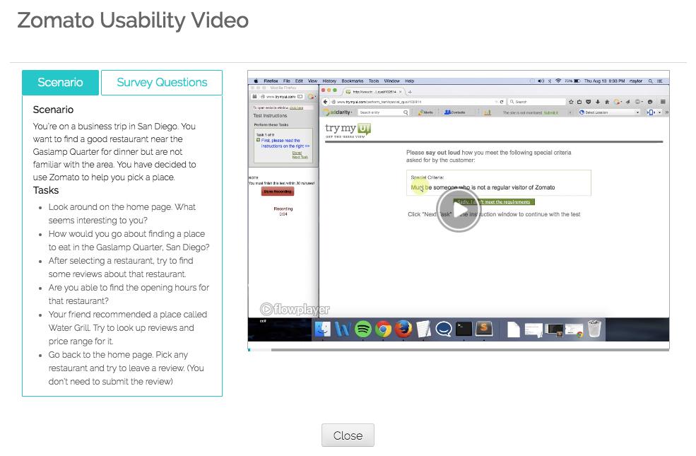 Screenshot of TryMyUI test