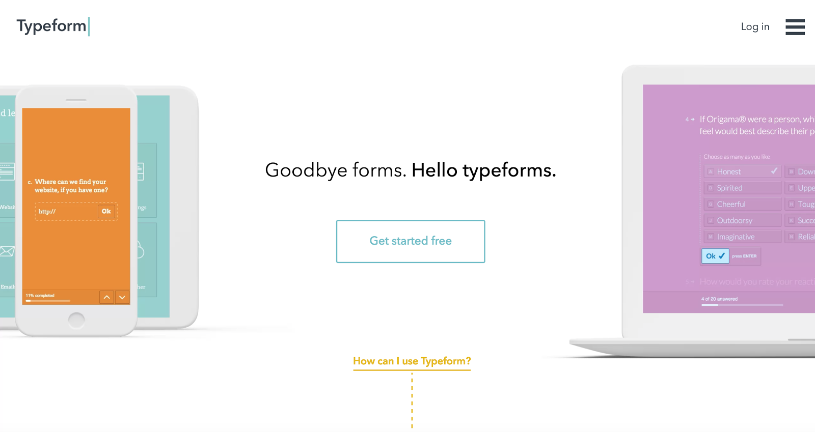 Screenshot from homepage of forms