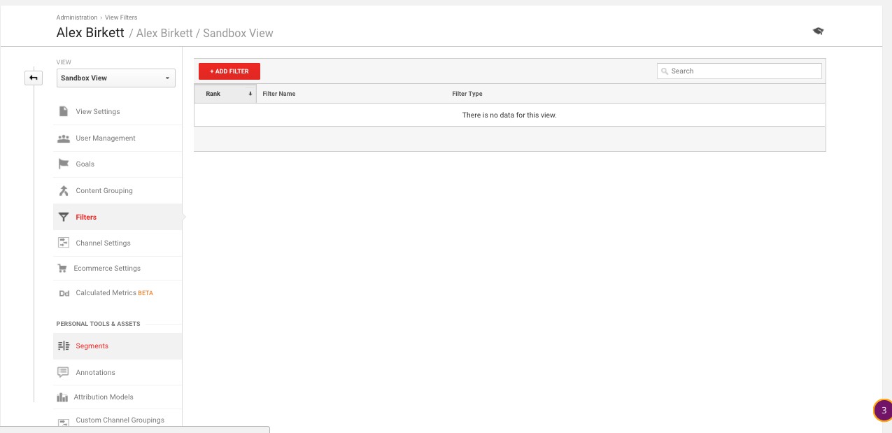 Go to Admin > Filters in Google Analytics to set up a Filter.