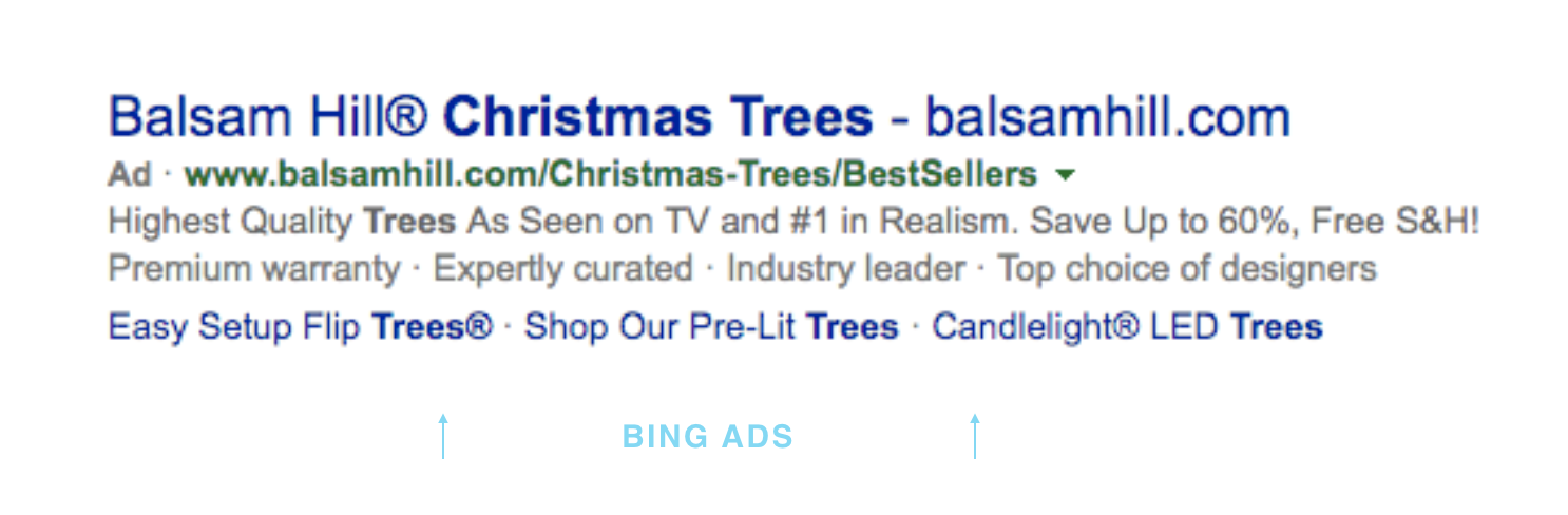 Here's an example of the same company's ad on Bing. As you can see, not much difference.
