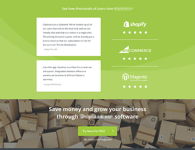 A landing page offering a free product trial.