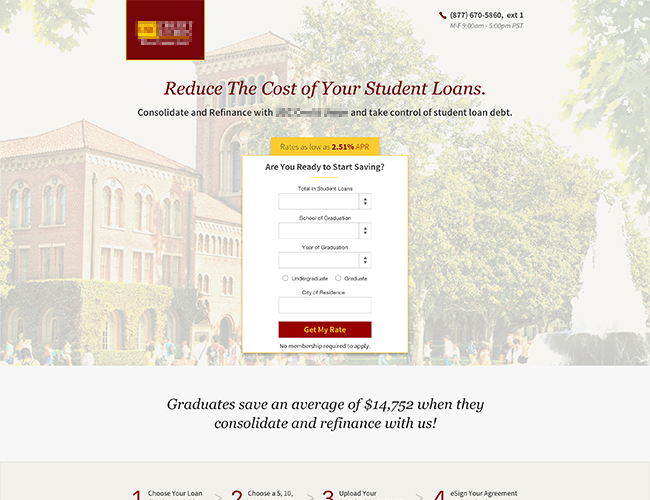 A landing page for refinancing studentloans.