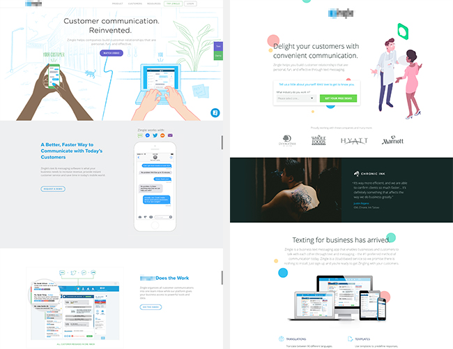 Left: Client's homepage. Right: Our custom landing page.