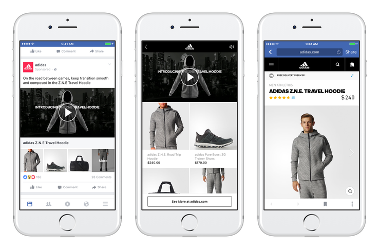 Collection ads take you from a main image, to product options, to product purchase.
