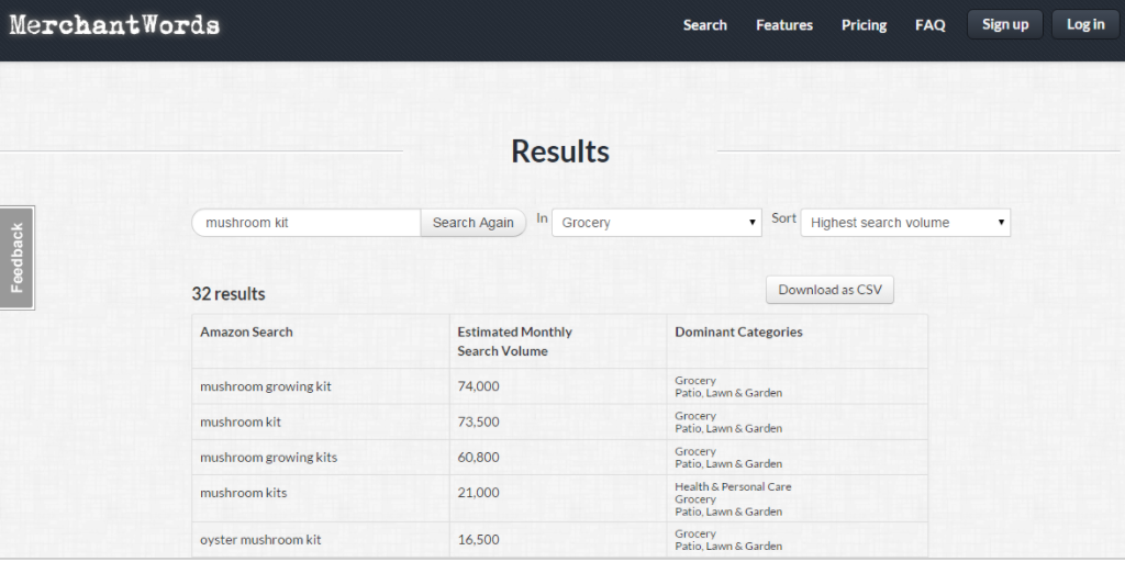 MerchantWords paid version offers data on dominant categories.