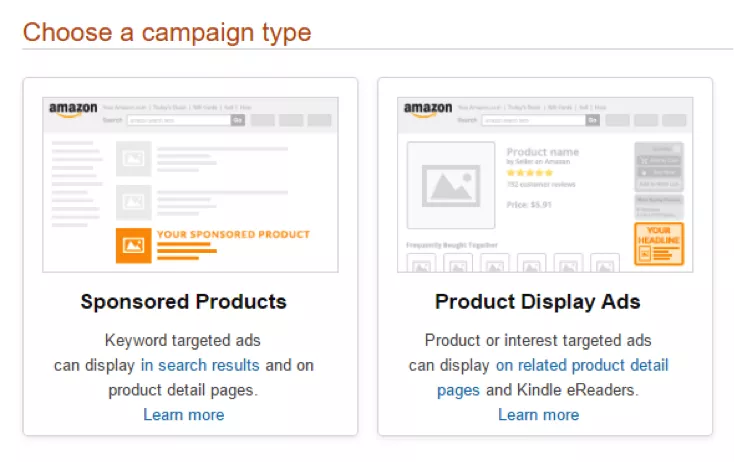 You'll be given the option between a campaign for Sponsored Products or Product Display Ads.