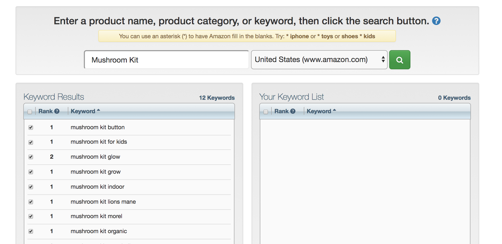 ...you'llsee a list of keyword results.