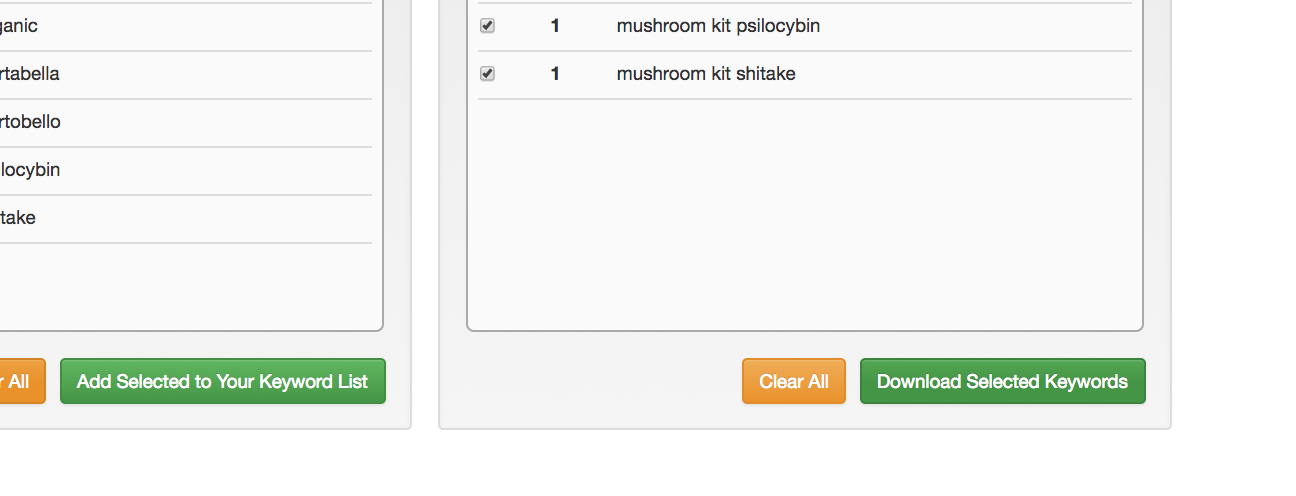 Download keywords by using the button on the bottom right.