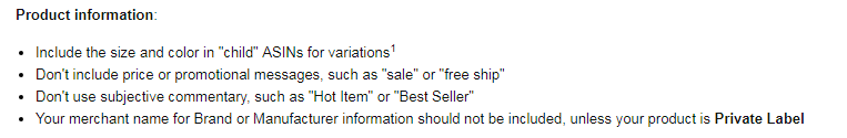 Amazon's product information guidelines
