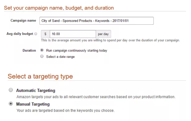 Set your campaign name, budget, and targeting type.