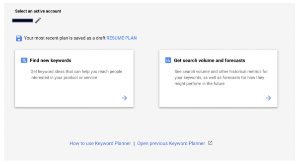 Google Keyword Planner - Google Keyword Planner Start Page