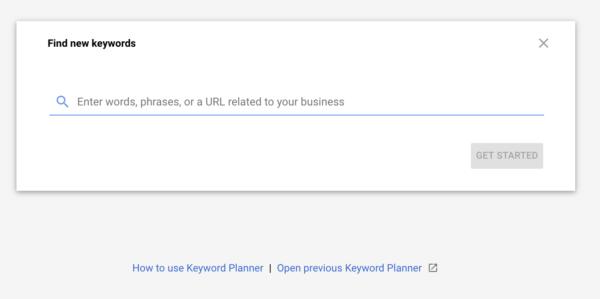 Google Keyword Planner - New Keywords