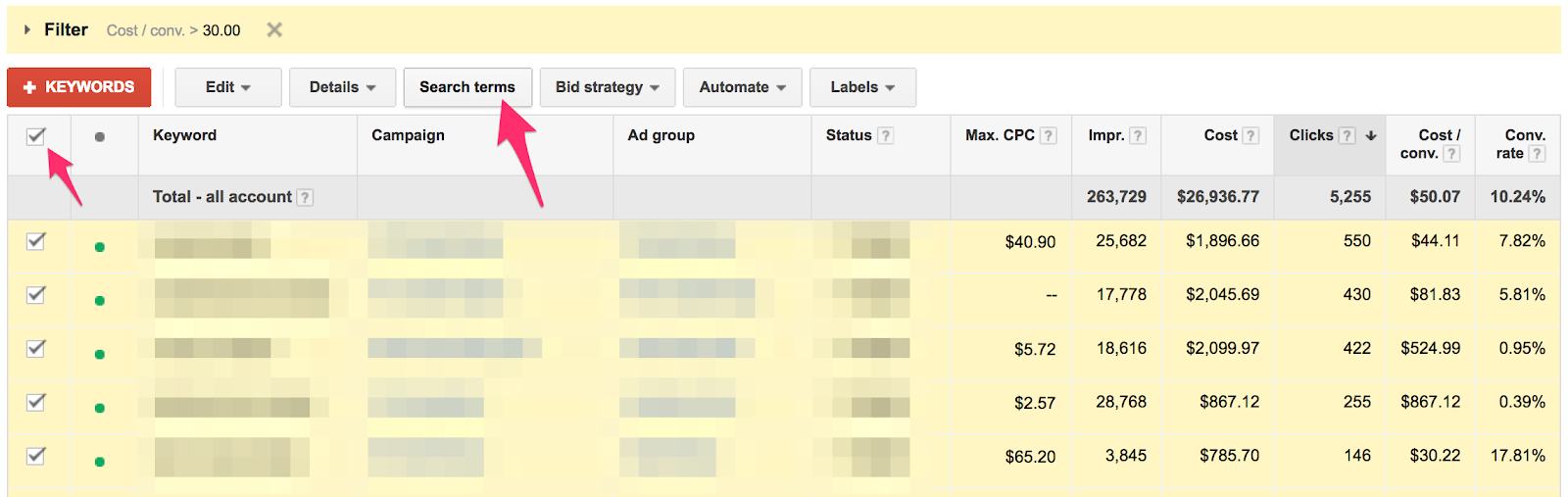 How to view high CPA keyword Search Terms