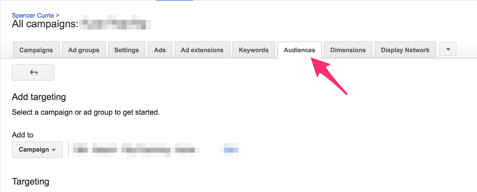 Navigate to Audiences tab under All campaigns.