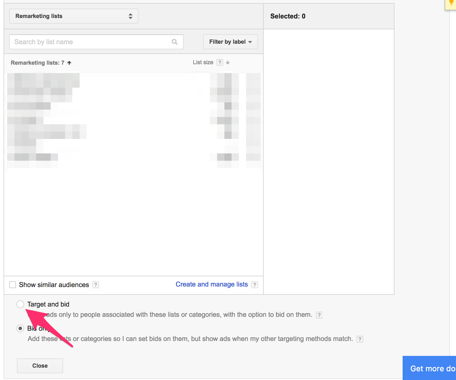 """After you select Remarketing audiences, click """"Target and bid""""."""
