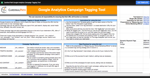 Use a centralized document to create and track campaigns.