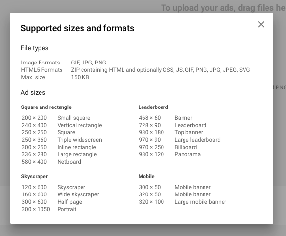 Pop-up details the file types and sizes to be used in banner ads.