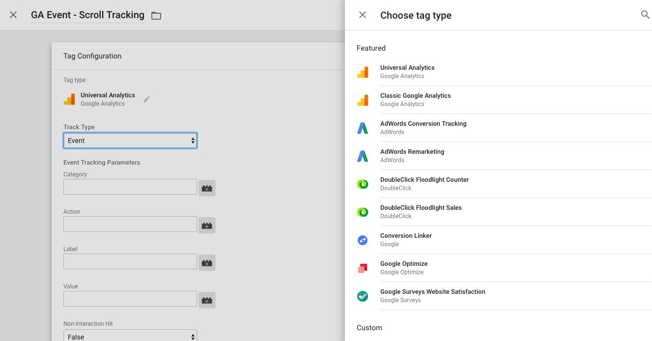Choose a new Universal Analytics Event tag in Google Tag Manager.