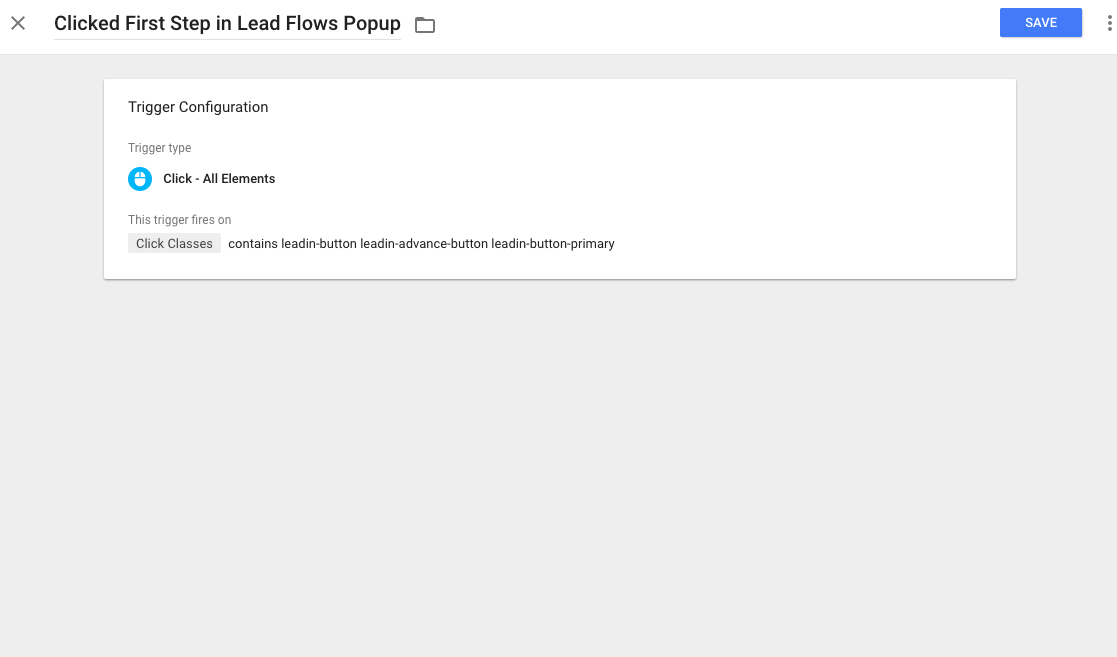 The trigger for when users click the button on the first step on our lead form.