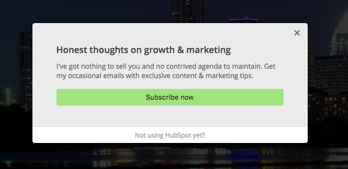 We'll set up Google Analytics event tracking on this popup.