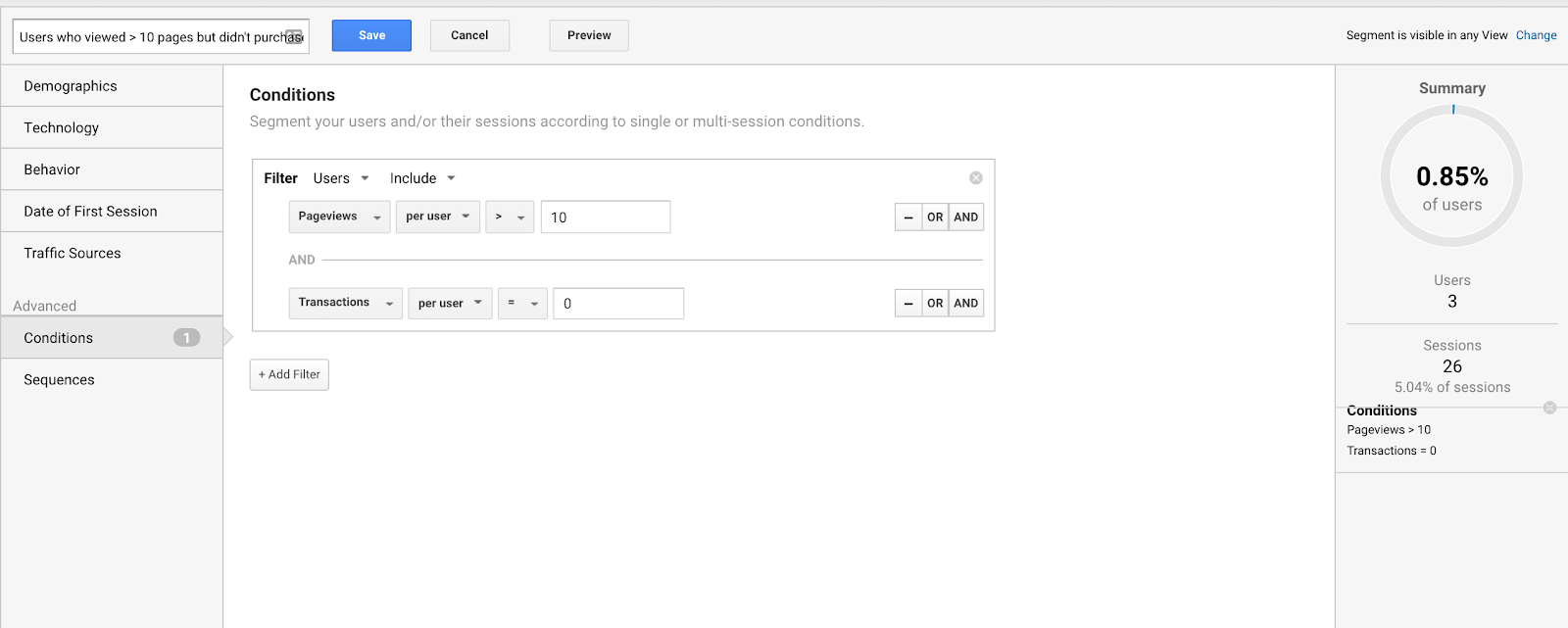 Set up Conditional Segments to analyze subsets of users deeper.