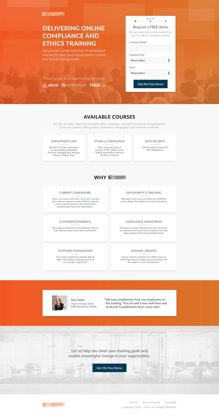 Ethics training landing page designed by Cody Chase