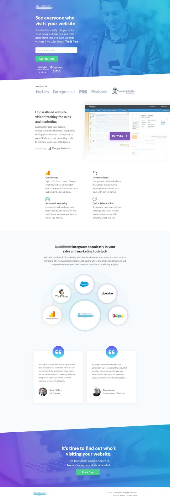 SaaS visitor tracking landing page designed by Michael Musa