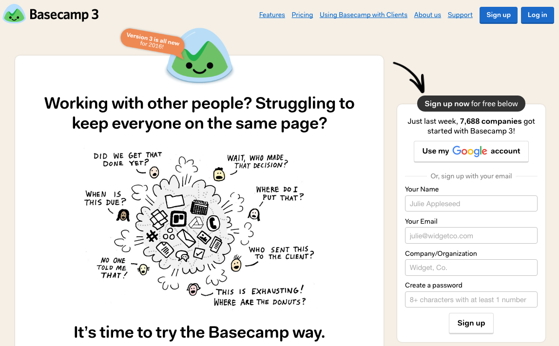 Now Basecamp visitors know what to focus on.