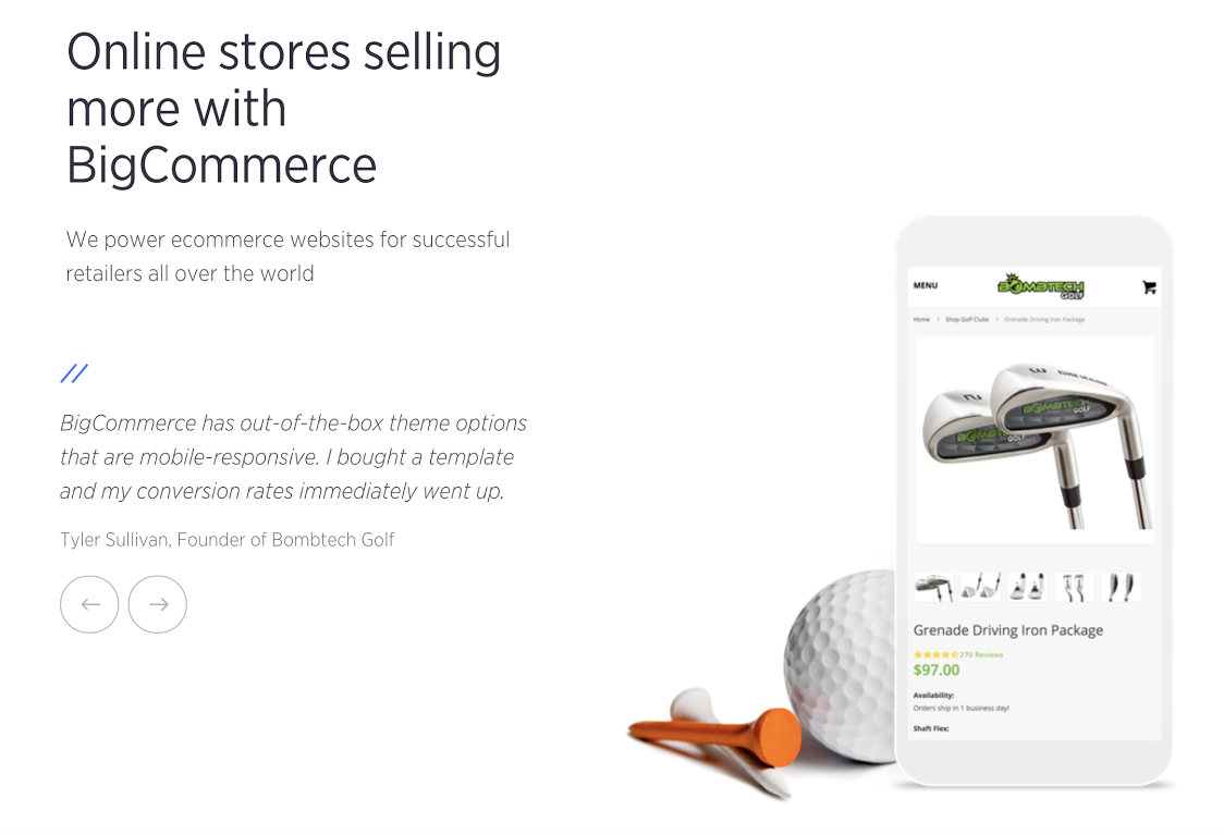Example of BigCommerce landing page