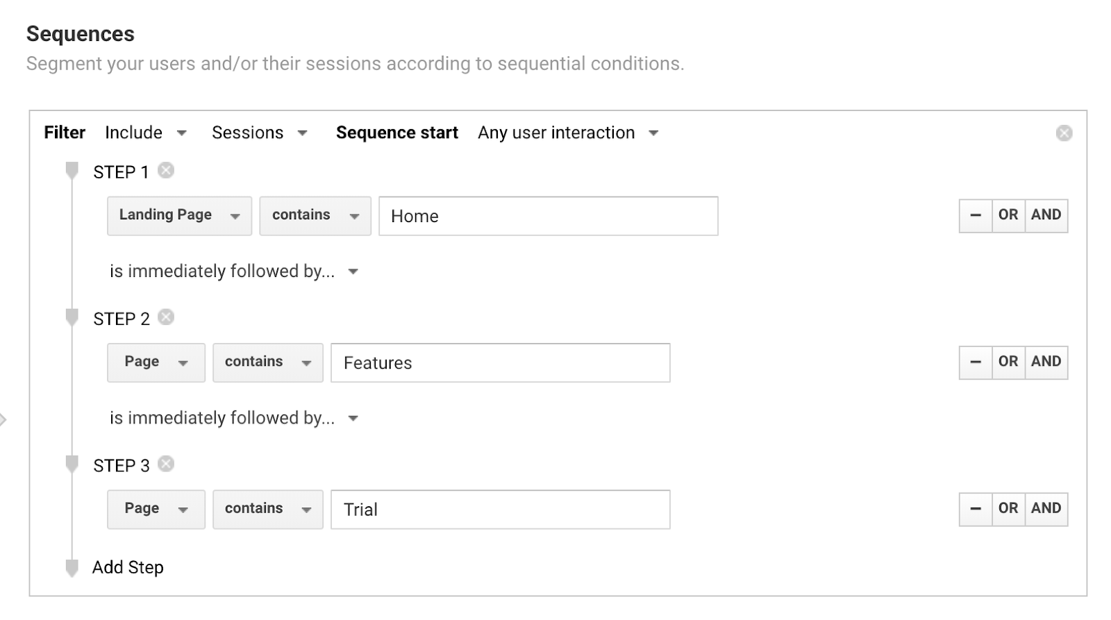 An example of a sequential segment in Google Analytics