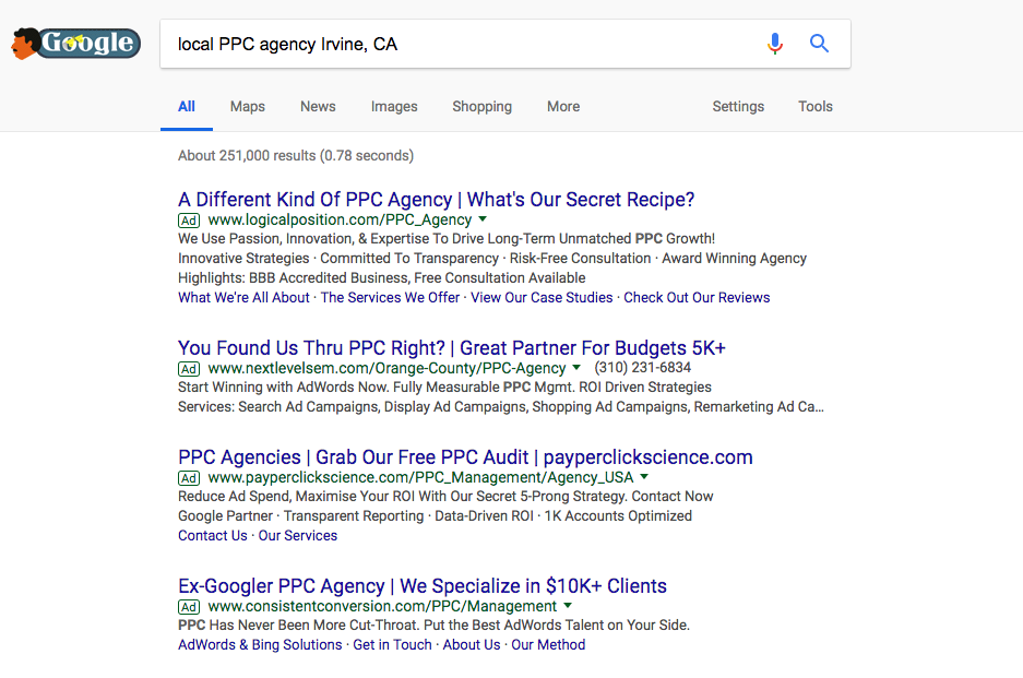 Local PPC keywords tend to have a much higher level of competition than ordinary keywords.