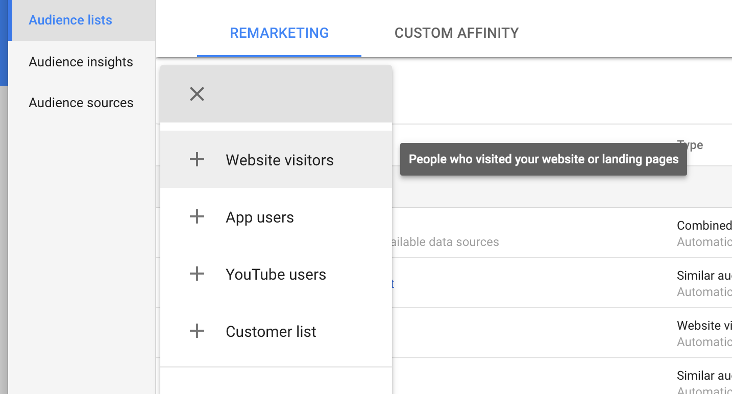 You can set up remarketing audiences right form your AdWords account, but it's more limited.