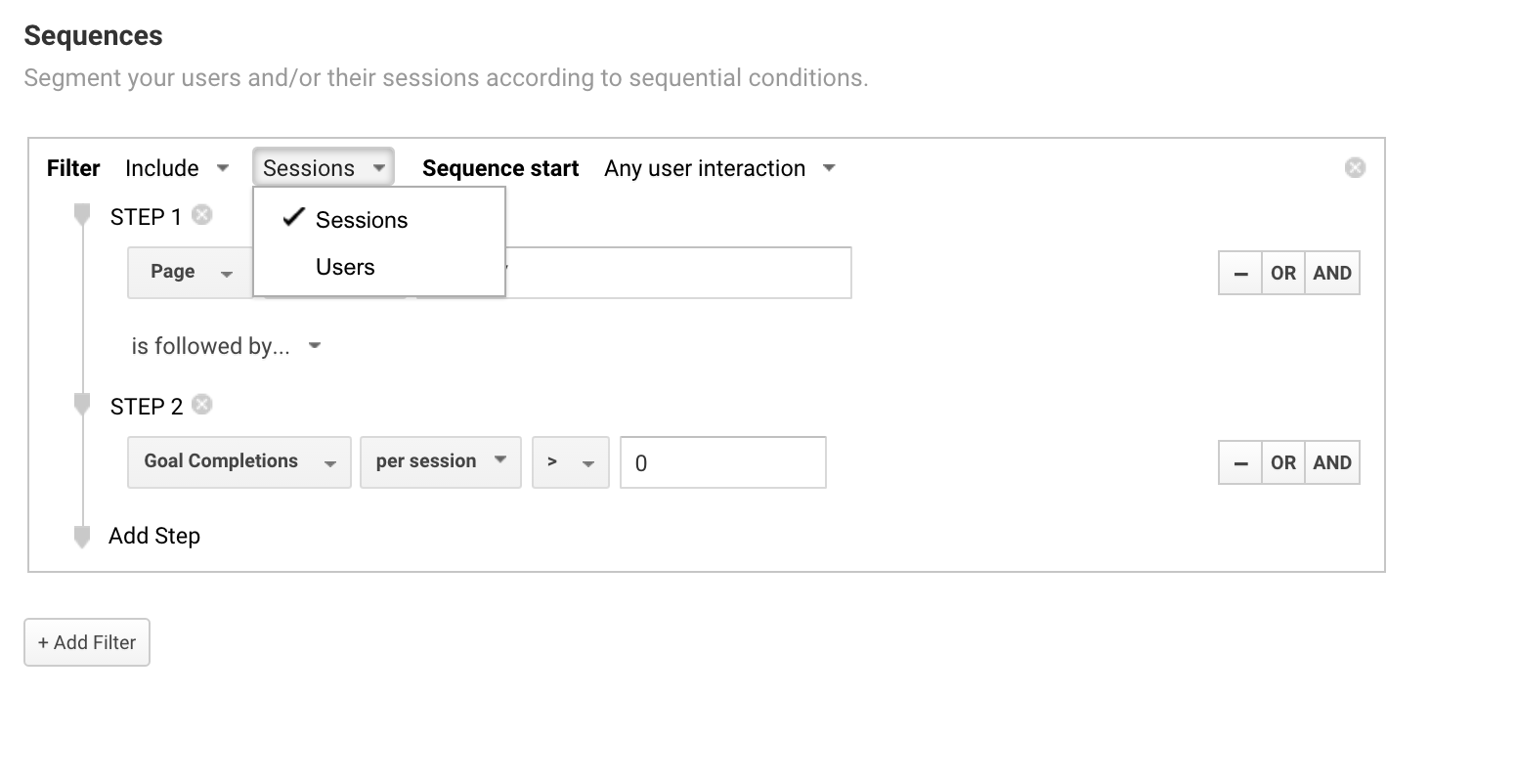 Session or user based sequential segments