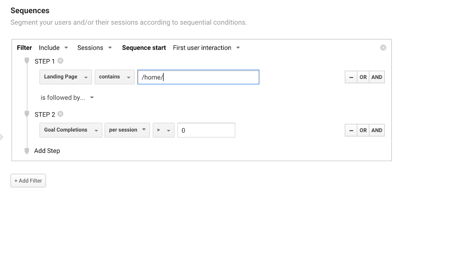 A sequence to find users who landed on the home page and converted later in that session