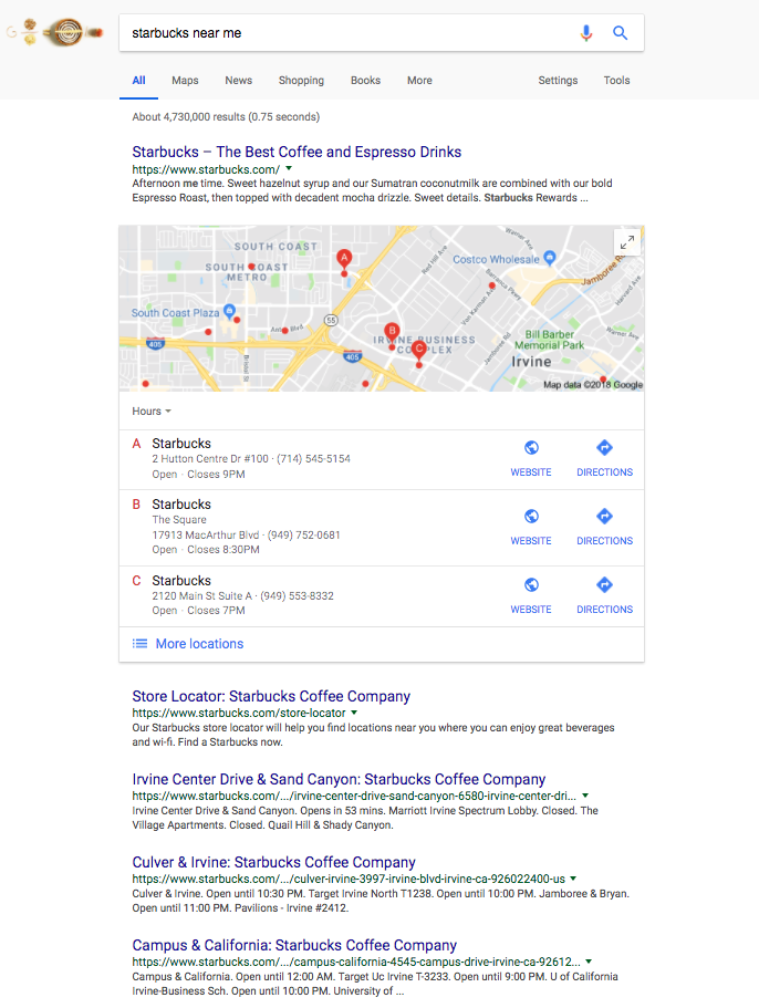 Notice there are no ads running on this SERP. Missed opportunity much?