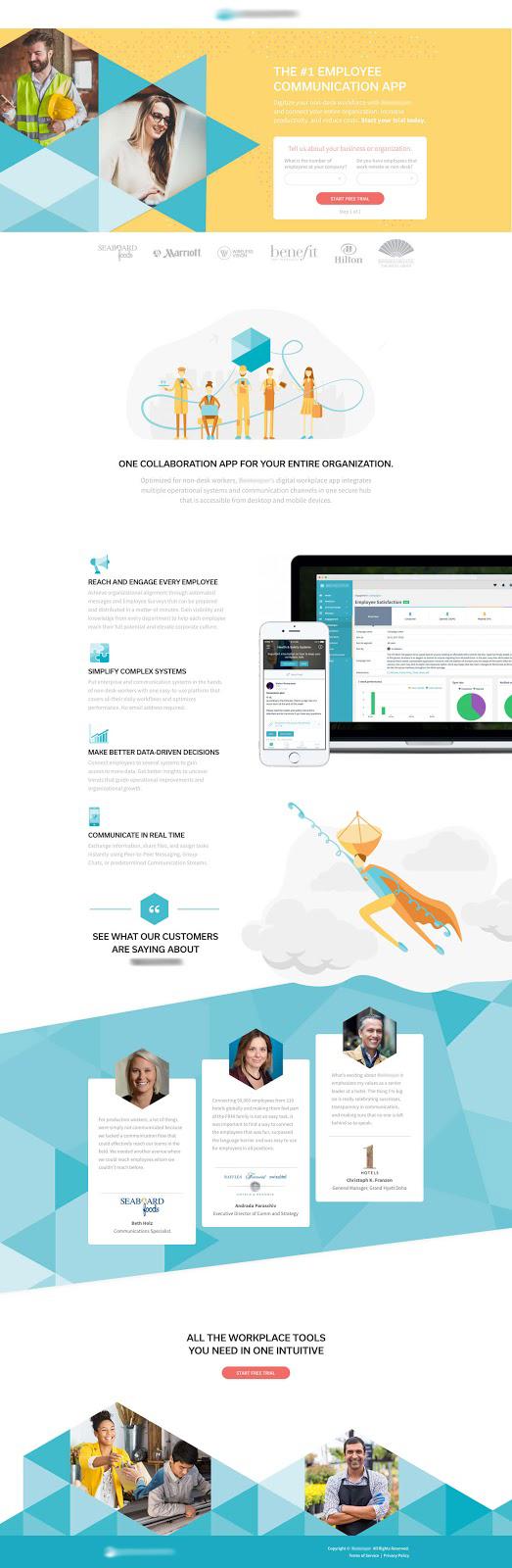 Employee communication app landing page designed by Michael Musa